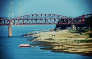 Varanasi skyline from Malviya Bridge
