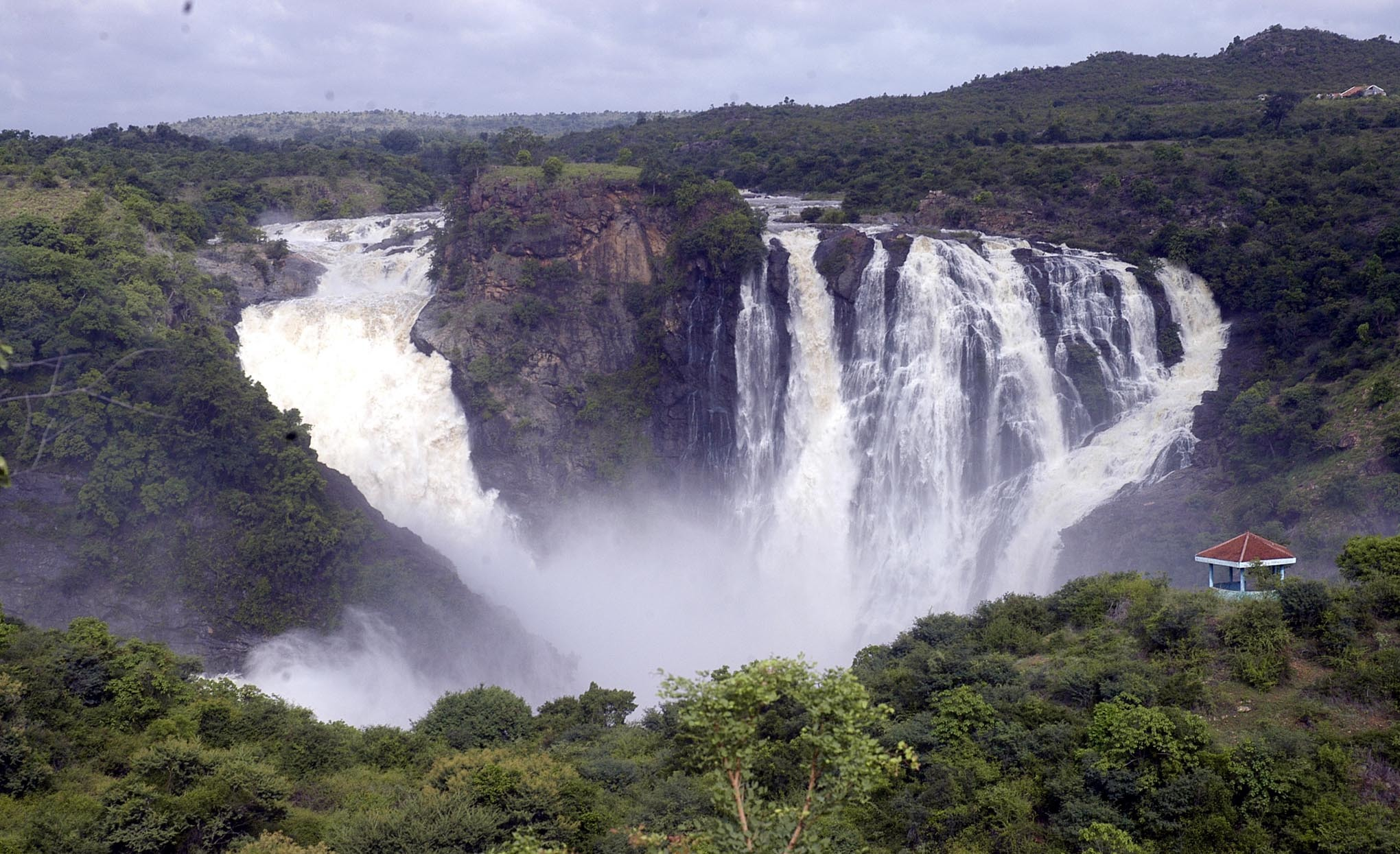 A view of Ganagachukki water falls as River Cauvery overflows in Mandya Dist on Monday. –KPN