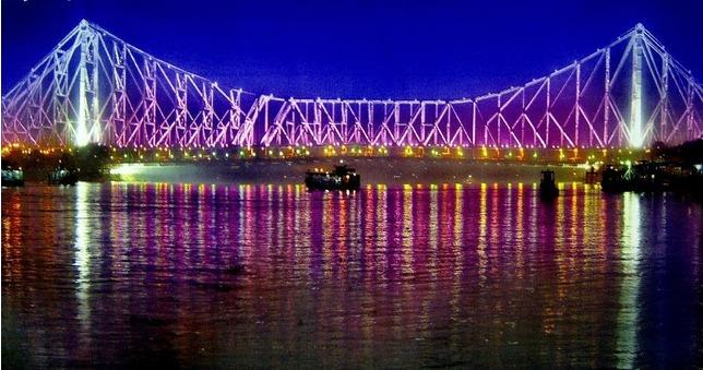 Howrah Bridge At Night Kolkata Calcutta